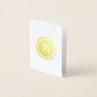 Monogrammed Scalloped Edge Gold Circle Foil Card