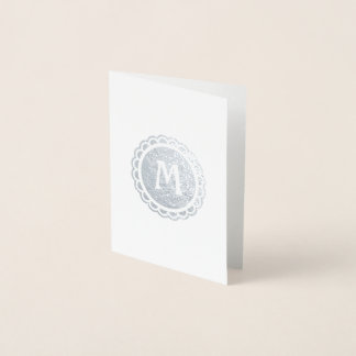Monogrammed Scalloped Edge Silver Circle Foil Card