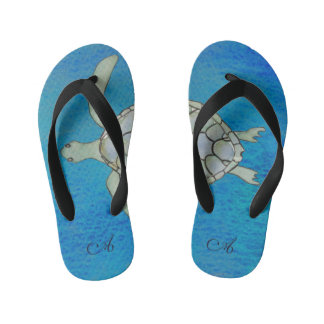 Monogrammed Sea Turtle Kid's Thongs