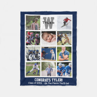 Monogrammed Senior Graduation Multi Photo Collage Fleece Blanket