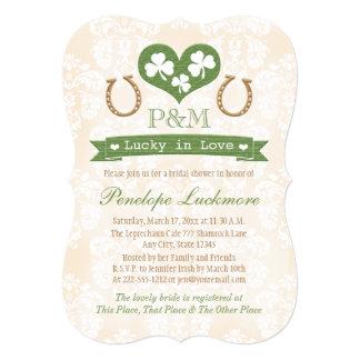Monogrammed Shamrock and Horseshoes Bridal Shower Card