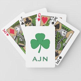 Monogrammed Shamrock Irish Playing Cards Gift