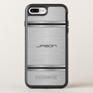 Monogrammed Silver And Black Metallic Design OtterBox Symmetry iPhone 8 Plus/7 Plus Case
