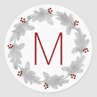 Monogrammed Silver and Red Pine Holiday Wreath Classic Round Sticker