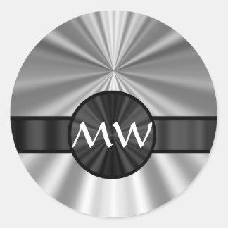 Monogrammed silver gray round sticker
