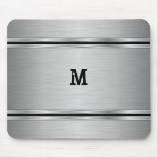 Monogrammed Silver Metallic Geometric Design Mouse Pad