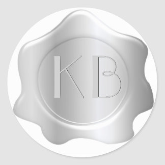 Monogrammed Silver Tone Wax Seal Stickers