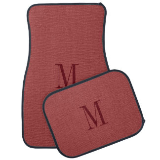 Monogrammed Simple Red Faux Leather Look Car Mat