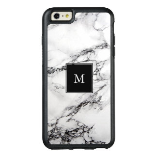 Monogrammed Simple White And Black Marble Stone OtterBox iPhone 6/6s Plus Case