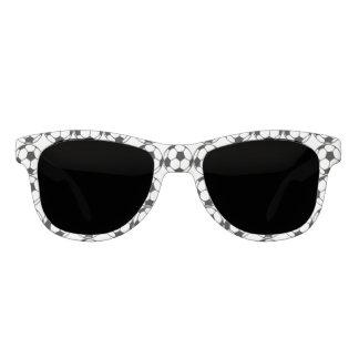 Monogrammed  soccer ball pattern in black&white sunglasses