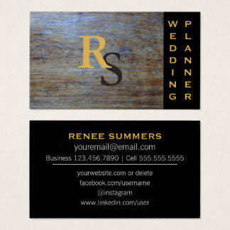 Monogrammed Social Media | Rustic Wedding Planner Business Card