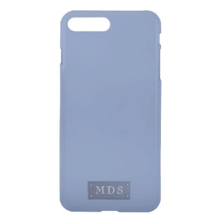 Monogrammed Solid Blue Grey Chambray iPhone 8 Plus/7 Plus Case