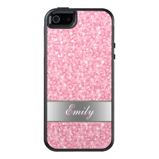Monogrammed Sparkling Pink And White Glitter OtterBox iPhone 5/5s/SE Case