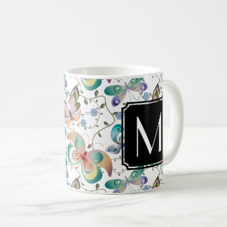 Monogrammed Spring Fantasy Butterfly Collection Coffee Mug