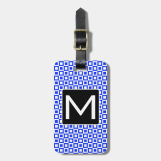 Monogrammed Squares and Squares BLW Luggage Tag