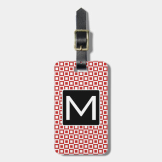 Monogrammed Squares and Squares RW Luggage Tag
