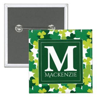 Monogrammed St. Patrick's Day Shamrocks 15 Cm Square Badge