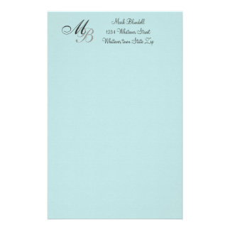 Monogrammed Stationery Blue