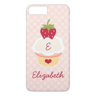 Monogrammed Strawberry Cupcake iPhone 7 Plus Case