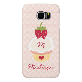 Monogrammed Strawberry Cupcake Samsung Galaxy S6 Cases
