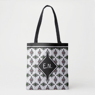 Monogrammed stylis emerald green and pink diamond tote bag