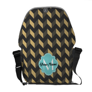 Monogrammed Tan and Gray Chevron Patchwork Pattern Messenger Bags