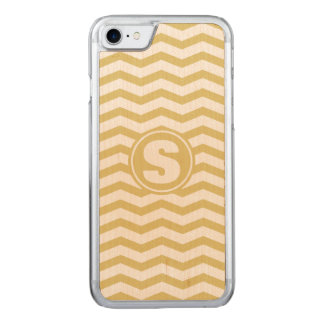 Monogrammed Tan Chevron Pattern Carved iPhone 7 Case