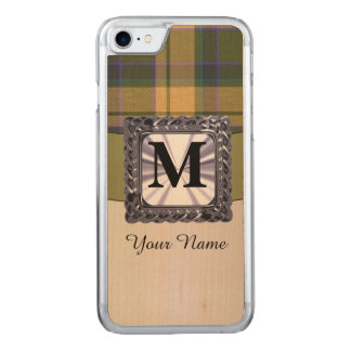 Monogrammed tartan plaid pattern carved iPhone 7 case