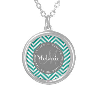 Monogrammed Teal Blue & Grey Zigzag Round Pendant Necklace