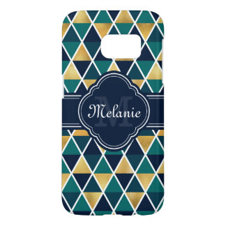 Monogrammed Teal Gold Geometric Triangle Pattern
