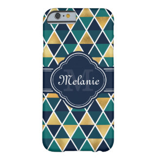 Monogrammed Teal Gold Geometric Triangle Pattern Barely There iPhone 6 Case
