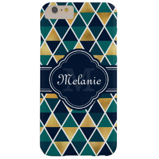 Monogrammed Teal Gold Geometric Triangle Pattern Barely There iPhone 6 Plus Case