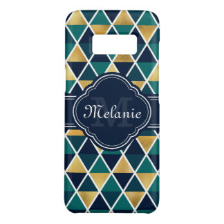 Monogrammed Teal Gold Geometric Triangle Pattern Case-Mate Samsung Galaxy S8 Case