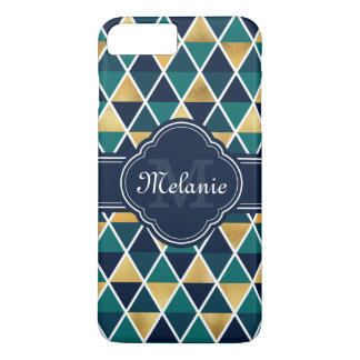 Monogrammed Teal Gold Geometric Triangle Pattern iPhone 8 Plus/7 Plus Case