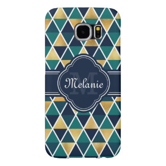Monogrammed Teal Gold Geometric Triangle Pattern Samsung Galaxy S6 Cases