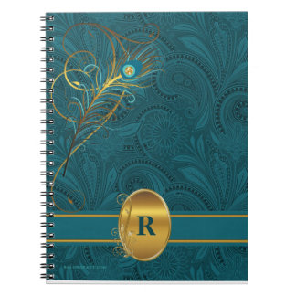 Monogrammed Teal Peacock for the Writer Spiral Notebook