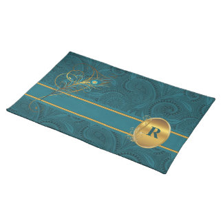 Monogrammed Teal Peacock with Gold Table Placemat