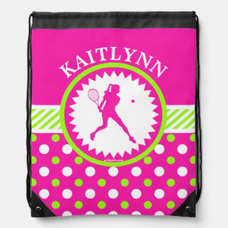 Monogrammed Tennis Pink - Green Polka-Dots Drawstring Bag
