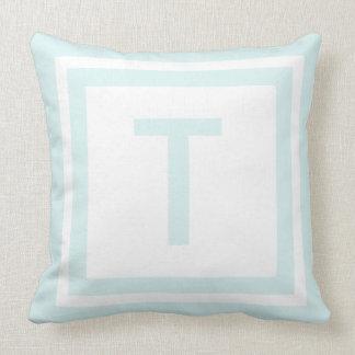 Monogrammed Throw Pillow - Blue & White