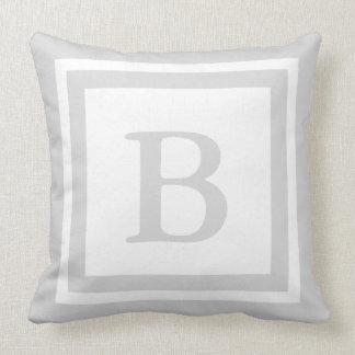Monogrammed Throw Pillow - Grey & White