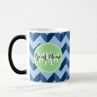 Monogrammed Tiffany and Navy Blue Modern Chevron Magic Mug