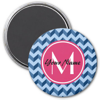 Monogrammed Tiffany and Navy Blue Modern Chevron Magnet