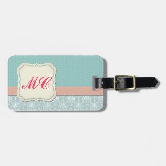 Monogrammed Tiffany Blue - Pink Chic Damask Bag Tag