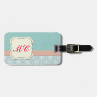 Monogrammed Tiffany Blue - Pink Chic Damask Luggage Tag
