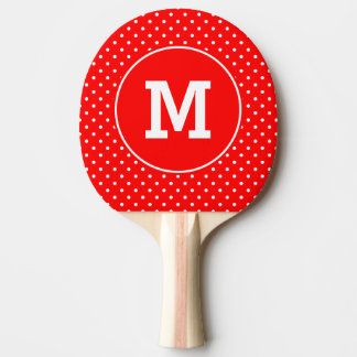 Monogrammed Tiny Red and White Polka Dots Ping Pong Paddle