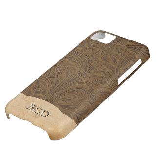 Monogrammed Tooled Leather Look Rustic Country iPhone 5C Case