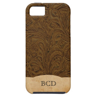 Monogrammed Tooled Leather Look Rustic Country Tough iPhone 5 Case