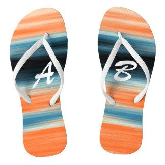 Monogrammed Trendy Orange Blue Stripes Thongs
