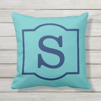Monogrammed | Turquoise and Navy Blue Throw Pillow