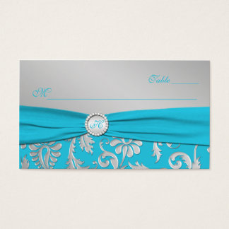 Monogrammed Turquoise and Silver Place Cards